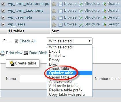 "Chọn ""Optimize table"" để tối ưu database wordpress"