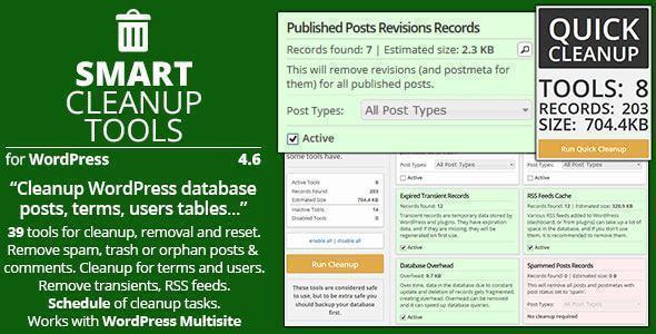 Smart Cleanup Tools là plugin giúp tối ưu database wordpress hiệu quả