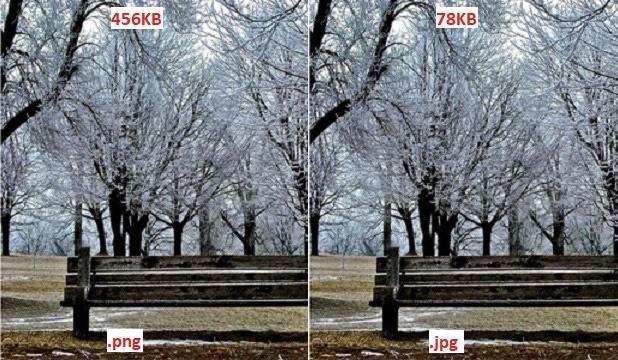 So sánh dung lượng hình jpg và png, tối ưu hình ảnh wordpress