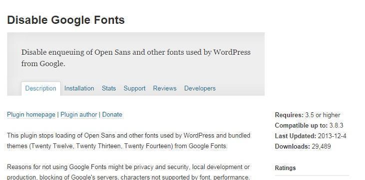 Sử dụng plugin để loại bỏ hoàn toàn Google Fonts