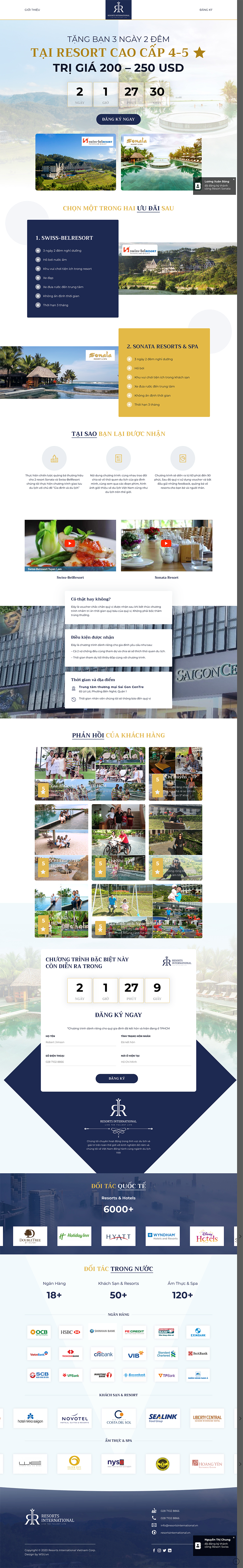 Dự án landing page giới thiệu dịch vụ nghỉ dưỡng Rivn
