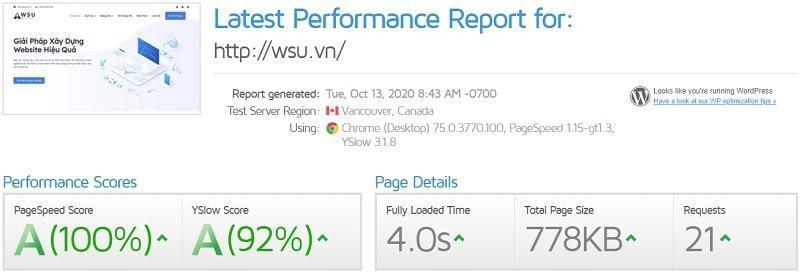Phân tích tối ưu GTmetrix trên website wsu.vn