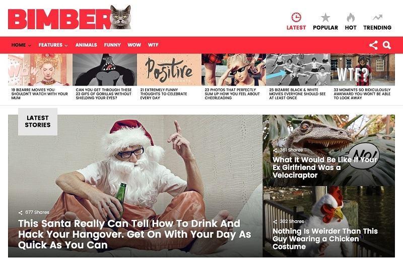 Bimber là mẫu theme thích hợp cho web tạp chí