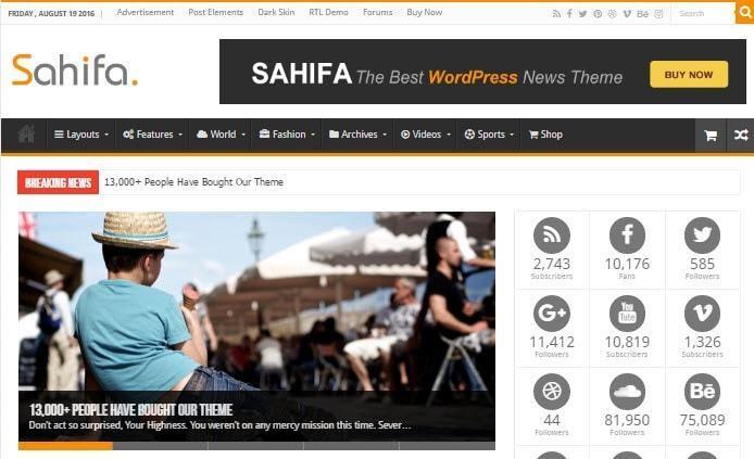 Sahifa được tải về phổ biến trên themeforest