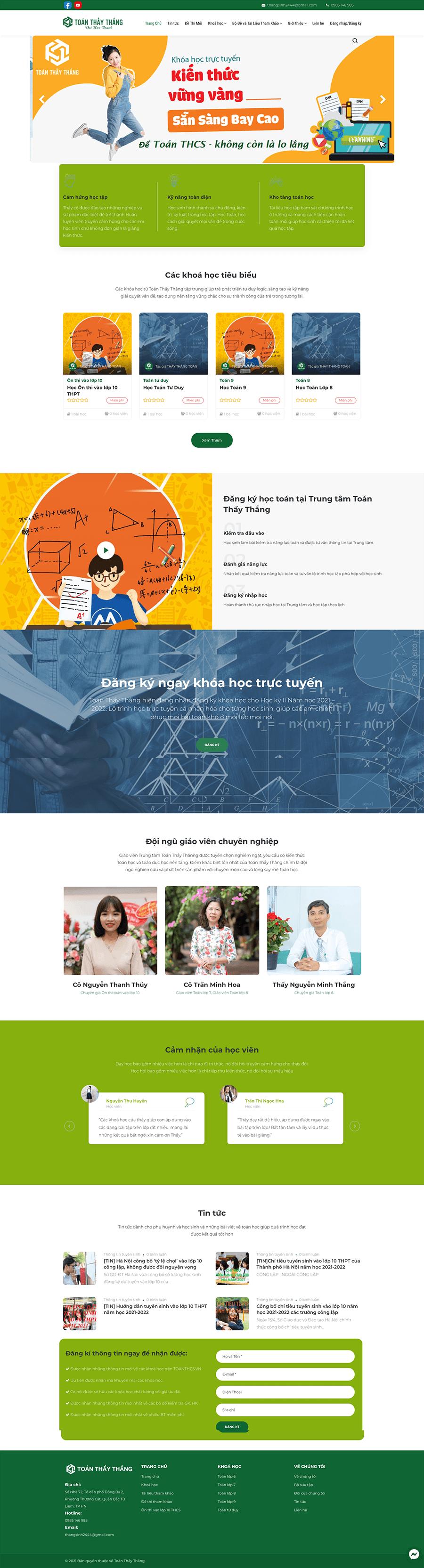 Dự án Hệ thống giảng dạy toán trực tuyến – Toán Thầy Thắng