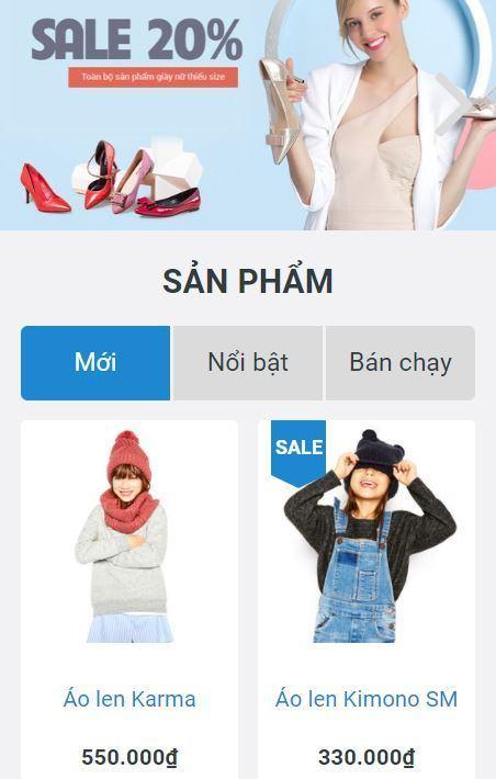 Giao diện bán hàng thời trang