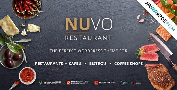 Giao diện web cà phê, nhà hàng Nuvo