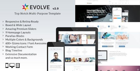 Mẫu giao diện giới thiệu công ty Evolve